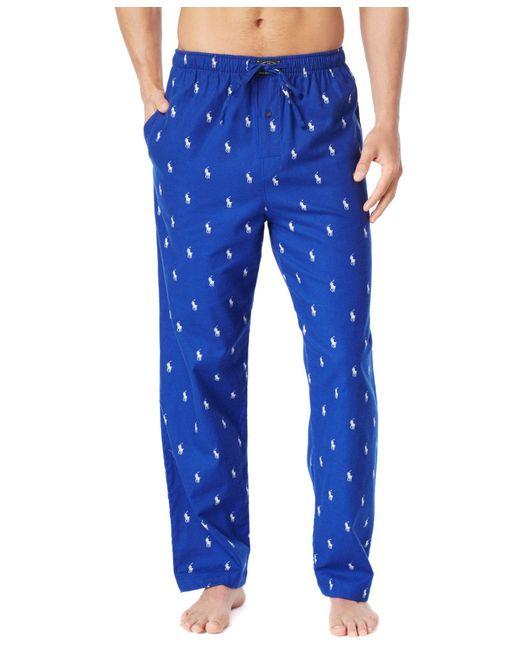 Polo Ralph Lauren   Blue Drawstring Pony-print Flannel Pajama Pants for Men   Lyst