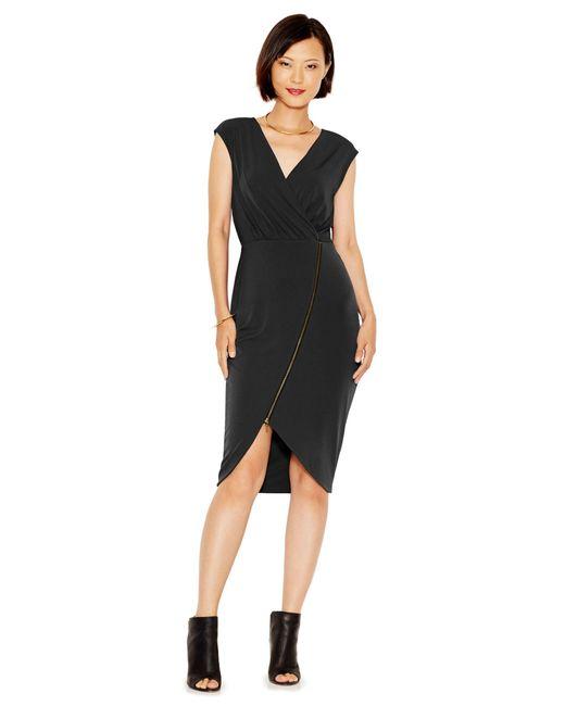 RACHEL Rachel Roy   Black Asymmetrical-zip Jersey Dress   Lyst