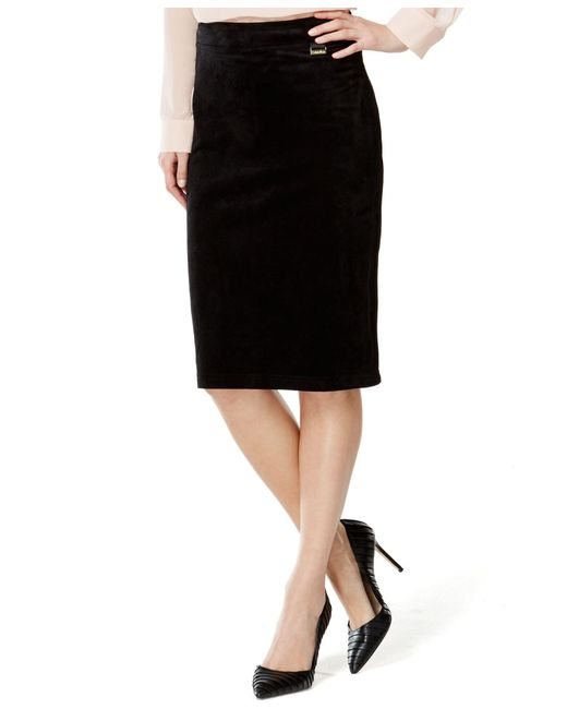 Calvin Klein | Black Faux-suede Pencil Skirt | Lyst