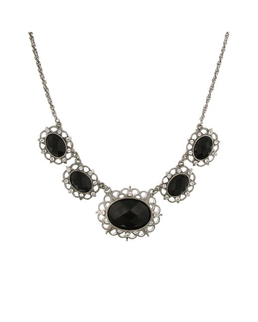 """2028 - Metallic Silver-tone Black Stone And Crystal 5-oval Collar Necklace 16"""" Adjustable - Lyst"""