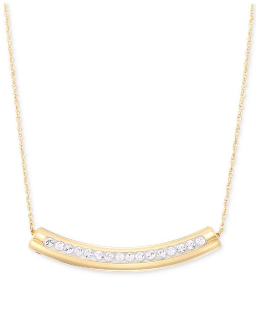 Signature Gold - Metallic Swarovski Crystal Curved Bar Pendant Necklace - Lyst
