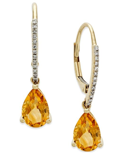 Macy's - Metallic Citrine (2 Ct. T.w.) And Diamond Accent Drop Earrings In 14k Gold - Lyst
