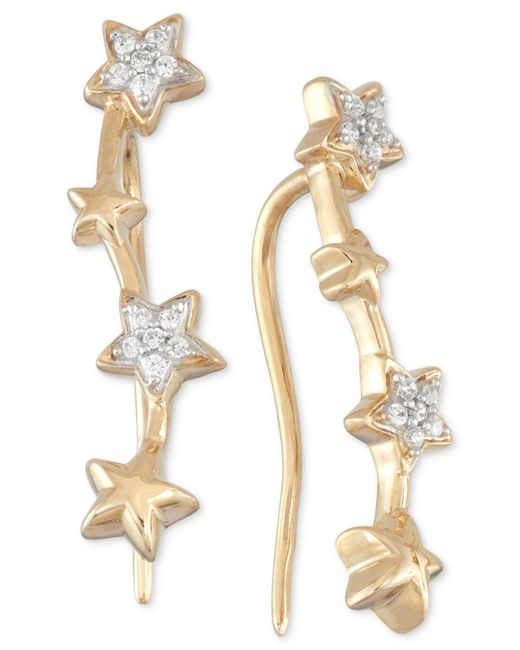 Wrapped in Love - Metallic Diamond Multi Star Ear Crawlers (1/10 Ct. T.w.) In 10k Gold - Lyst