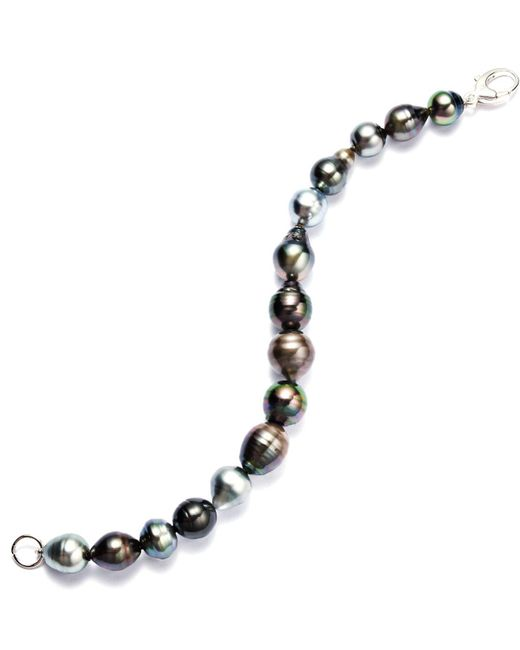 Macy's - Black Sterling Silver Bracelet, Multicolor Cultured Tahitian Pearl Baroque Bracelet (9-11mm) - Lyst
