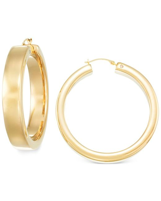 Signature Gold - Metallic Bold Hoop Earrings In 14k Gold - Lyst