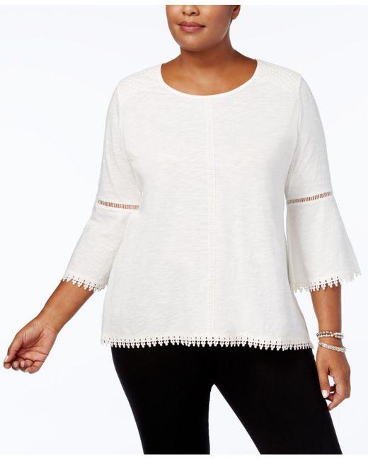 Style & Co. | White Plus Size Lantern-sleeve Crochet-trim Top | Lyst
