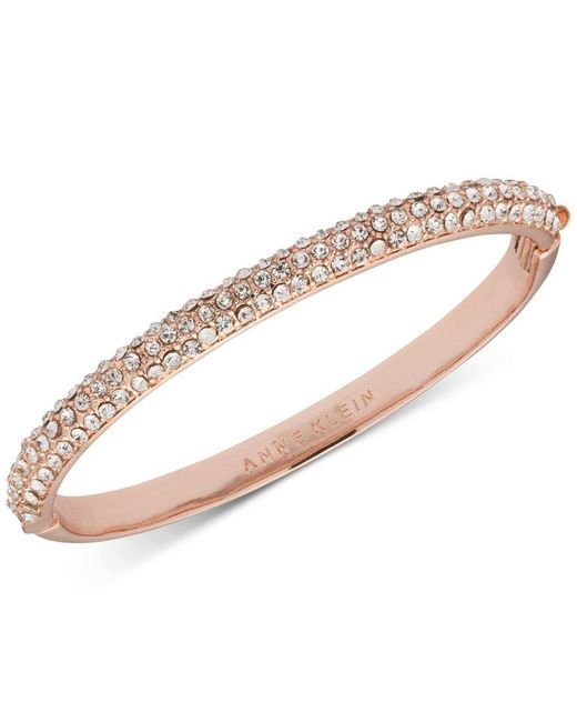 Anne Klein | Pink Rose Gold-tone Crystal Pave Bangle Bracelet, A Macy's Exclusive Style | Lyst