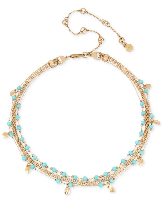 Kenneth Cole | Metallic Gold-tone Blue Bead Triple-chain Choker Necklace | Lyst