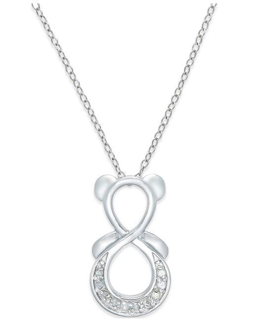 Macy's | Metallic Diamond Infinity Bear Pendant Necklace (1/10 Ct. T.w.) In Sterling Silver | Lyst