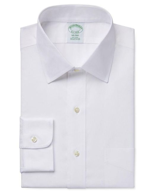 Brooks Brothers | White Milano Extra Slim-fit Non-iron Pinpoint Solid Dress Shirt for Men | Lyst
