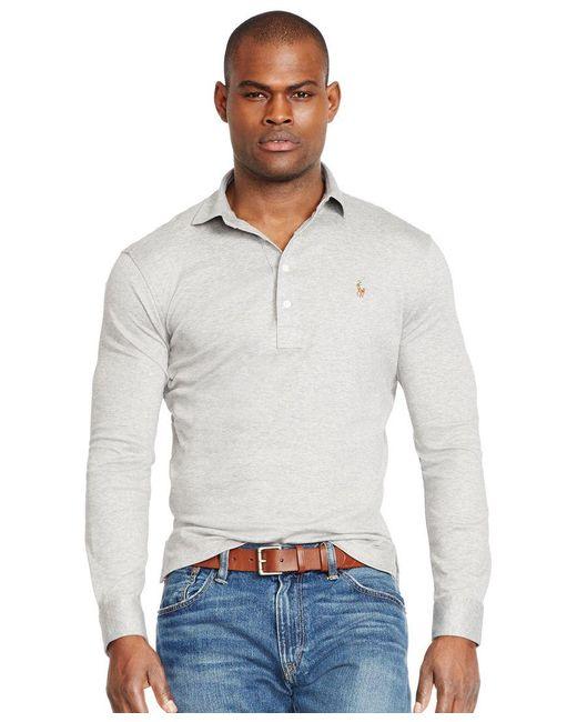 Polo Ralph Lauren | Gray Long-sleeved Pima Cotton Soft-touch Shirt for Men | Lyst