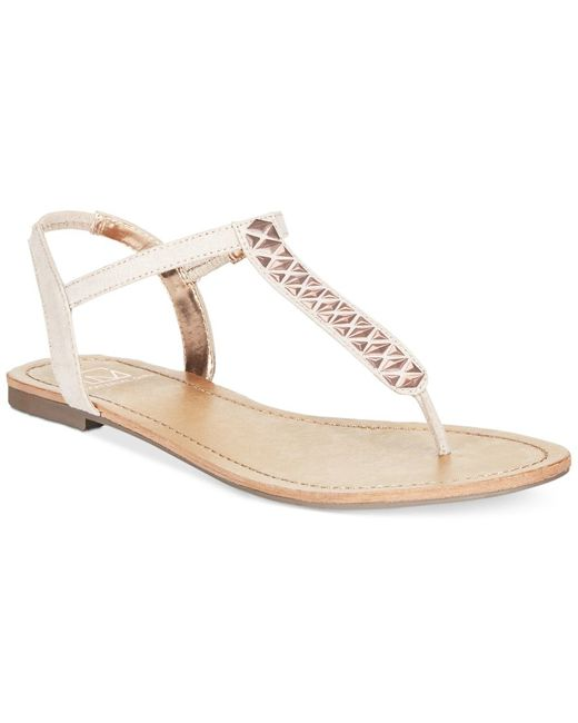 Material Girl   Pink Sage T-strap Flat Thong Sandals, Only At Macy's   Lyst