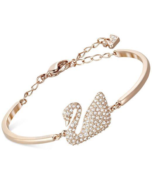 Swarovski   Pink Rose Gold-tone Crystal Swan Bangle Bracelet   Lyst