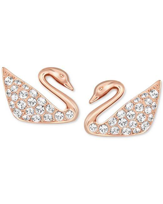 Swarovski | Pink Rose Gold-tone Crystal Swan Stud Earrings | Lyst