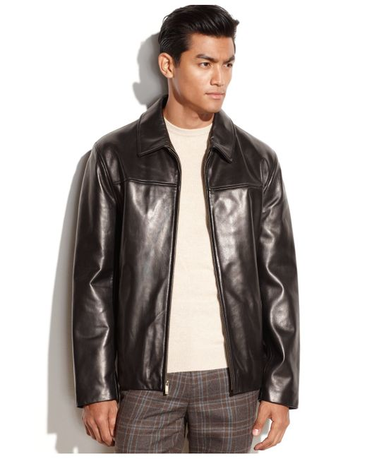 Cole Haan | Black Smooth Leather Moto Jacket for Men | Lyst