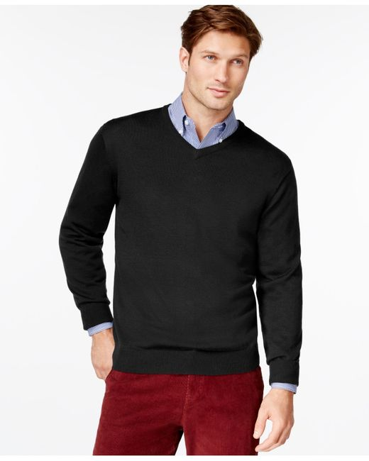 Cutter & Buck | Black Men's Big And Tall Douglas V-neck Sweater for Men | Lyst