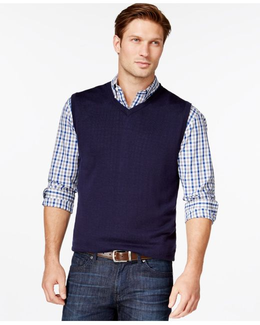 Cutter & Buck | Blue Men's Big And Tall Douglas V-neck Sweater Vest for Men | Lyst