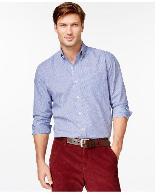Cutter & Buck | Blue Big And Tall Men's Gingham Button-down Shirt for Men | Lyst