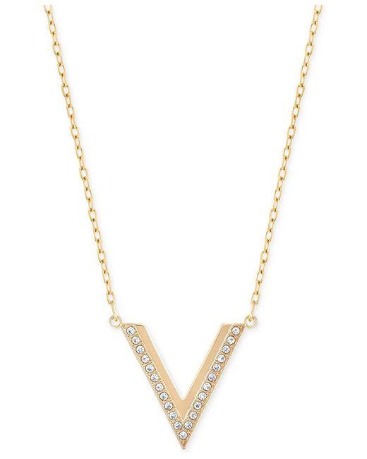Swarovski | Metallic Rose Gold-tone Small Chevron Pendant Necklace | Lyst