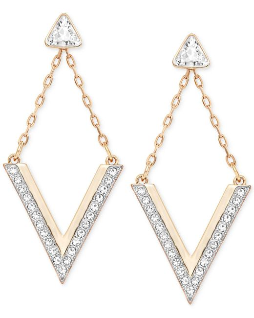 Swarovski   Metallic Rose Gold-tone Crystal Chevron Drop Earrings   Lyst