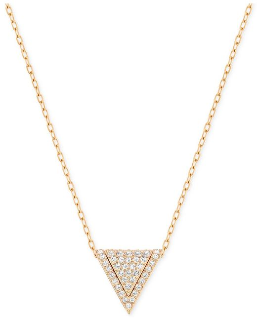 Swarovski | Metallic Rose Gold-tone Pave Triangle Pendant Necklace | Lyst