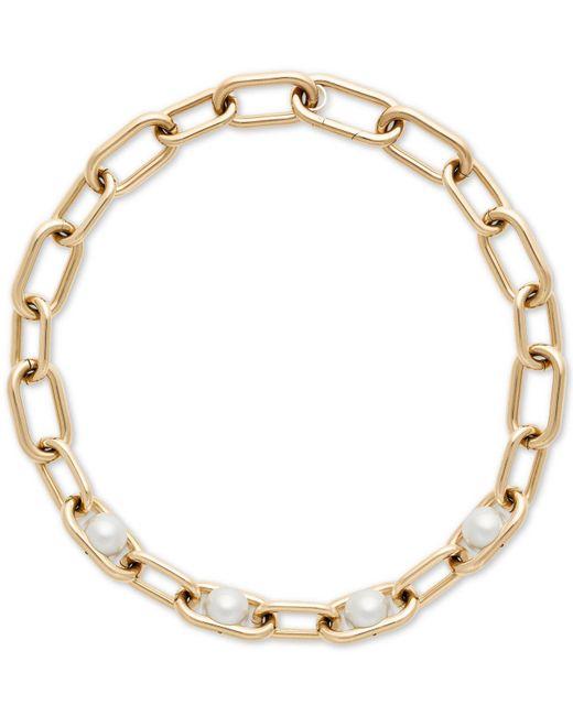 Michael Kors - Metallic Gold-tone Imitation Pearl Large Link Collar Necklace - Lyst