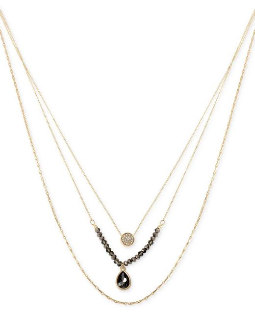 Kenneth Cole | Metallic Gold-tone Beaded Crystal Layer Pendant Necklace | Lyst