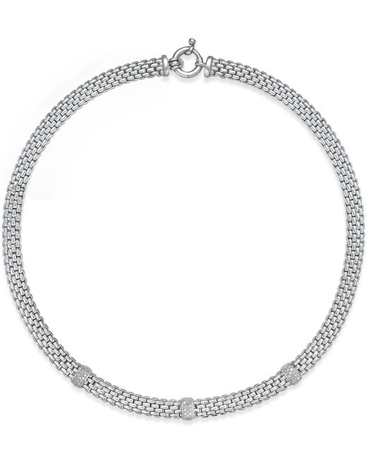 Macy's | Metallic Diamond Station Dew Drop Collar Necklace (3/8 Ct. T.w.) In Sterling Silver | Lyst