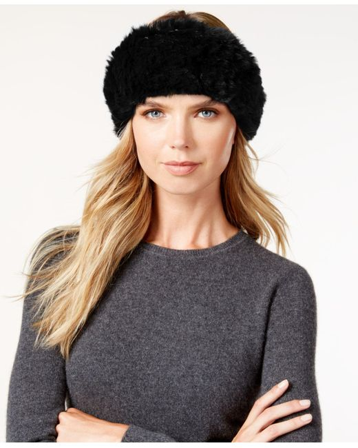 Surell | Black Stretchy Sheared Rabbit Fur Headband Neckwarmer | Lyst