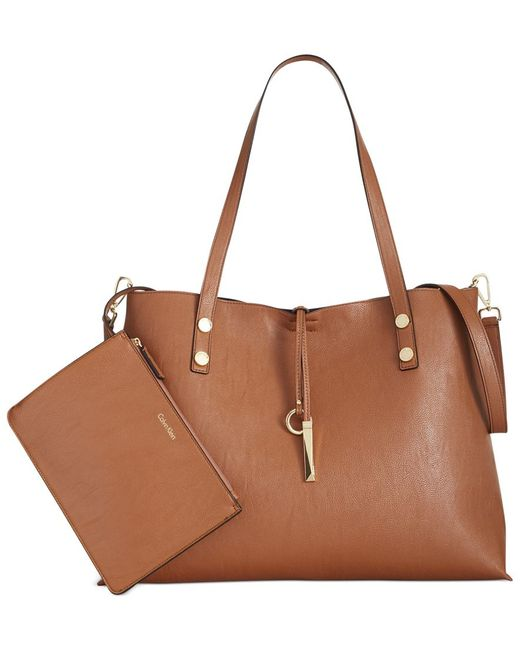 Calvin Klein | Brown Extra Large Reversible Tote With Pouch | Lyst