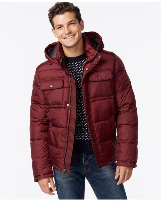 Tommy Hilfiger | Purple Hooded Puffer Jacket for Men | Lyst