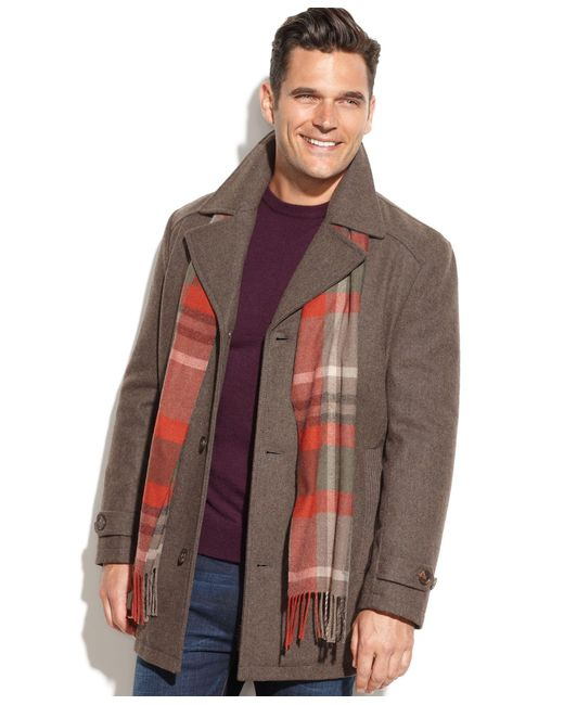 London Fog   Brown Single-Breasted Wool-Blend Car Coat for Men   Lyst