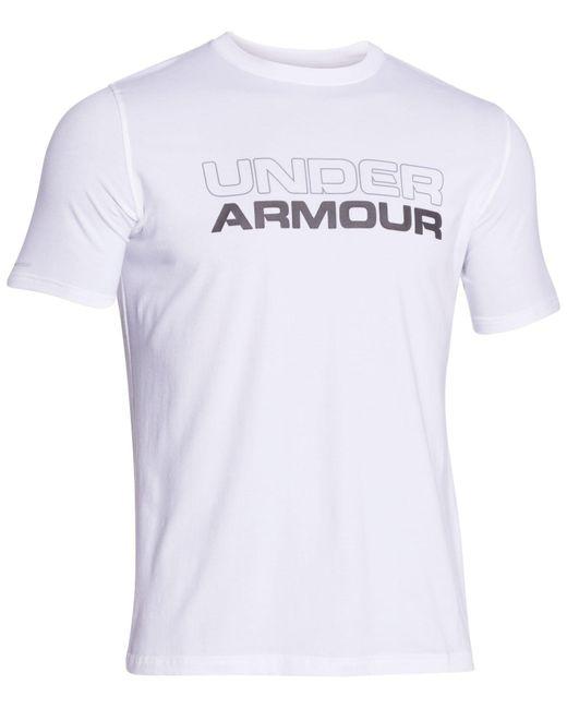 Under Armour | White Wordmark T-shirt for Men | Lyst