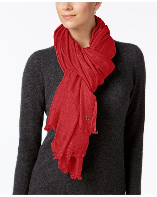 Calvin Klein   Red Oversized Modal Cashmere Wrap   Lyst