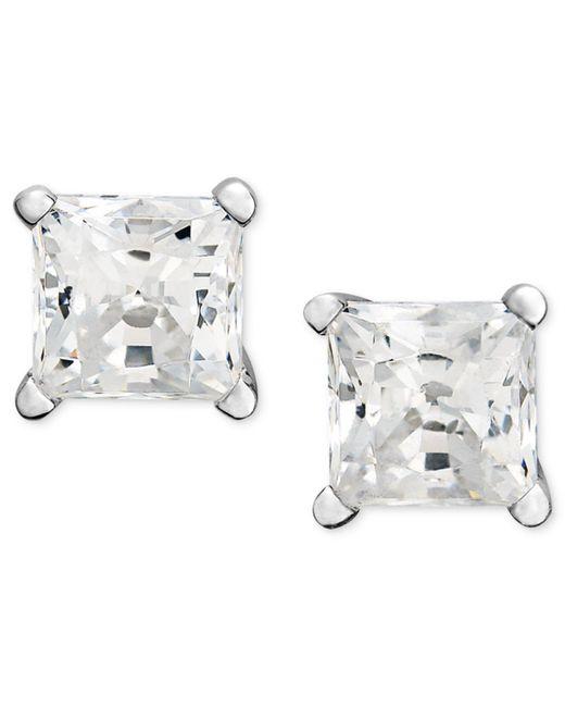 Macy's | Metallic Princess-cut Diamond Stud Earrings In 14k White Gold (1 Ct. T.w.) | Lyst
