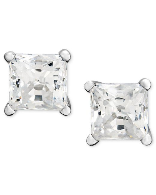 Macy's | Metallic Princess-cut Diamond Stud Earrings In 14k White Gold (1 Ct. T.w.) | Lyst