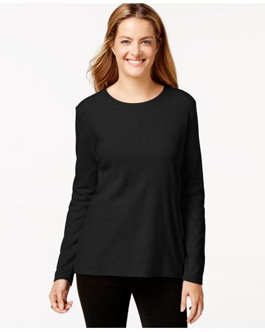 Style & Co. | Black Long-sleeve Crew-neck T-shirt | Lyst