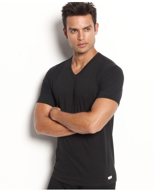 Calvin Klein | Black Men's Stretch-cotton V-neck Undershirt 2-pack Nb1179 for Men | Lyst