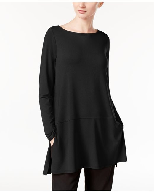 Eileen Fisher | Black Bateau-neck Peplum Tunic Top | Lyst