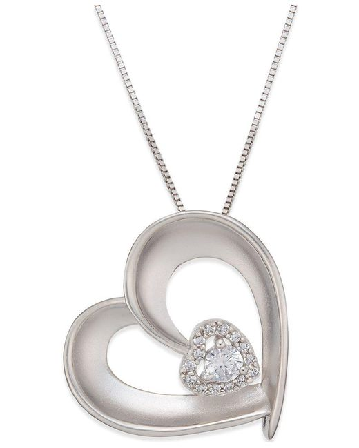 Macy's   Metallic Diamond Satin Heart Pendant Necklace (1/5 Ct. T.w.) In Sterling Silver   Lyst