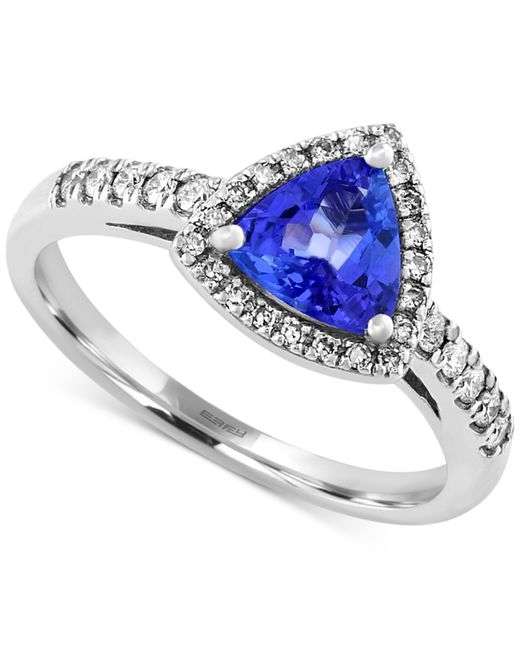 Effy Collection | Metallic Tanzanite (3/4 Ct. T.w.) And Diamond (1/5 Ct. T.w.) Trillion Ring In 14k White Gold | Lyst