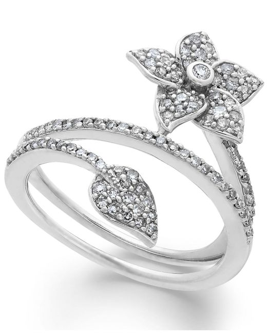 Macy's - Metallic Diamond Wrap-around Flower Ring In Sterling Silver (1/2 Ct. T.w.) - Lyst