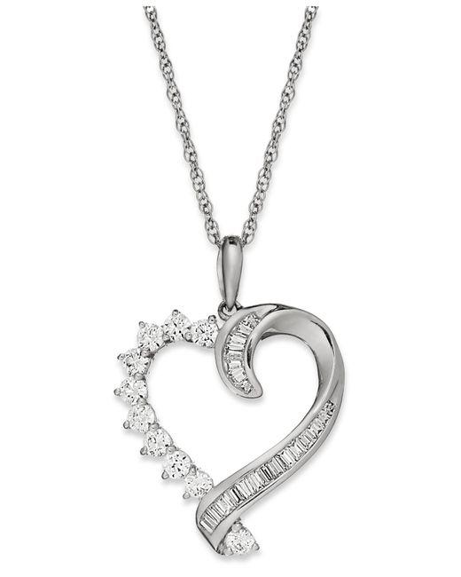 Macy's - Diamond Baguette Swirl Heart Pendant Necklace In 10k White Gold (1/2 Ct. T.w) - Lyst