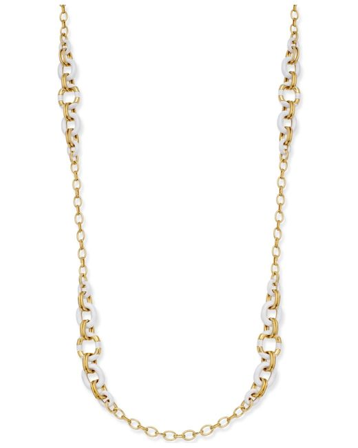 Kate Spade | Metallic Gold-tone Pink Highlighted Scatter Necklace | Lyst