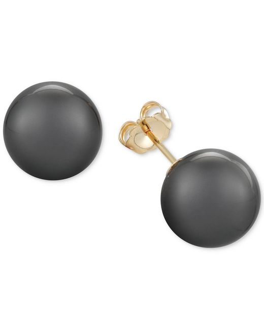 macy s pearl earrings macy s cultured tahitian pearl stud earrings 11mm in 14k 1231