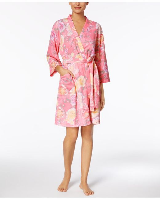 Miss Elaine | Pink Peonies-print Brushed-waffle Wrap | Lyst