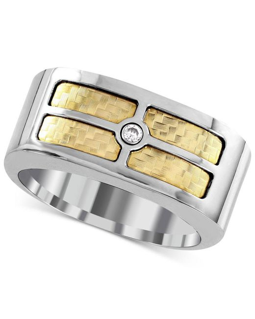 Macy's   Metallic Men's Diamond Accent Inlay Ring In 18k Gold And Stainless Steel for Men   Lyst