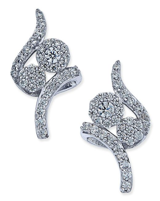 Macy's - Diamond Swirl Cluster Stud Earrings (3/8 Ct. T.w.) In 14k White Gold - Lyst