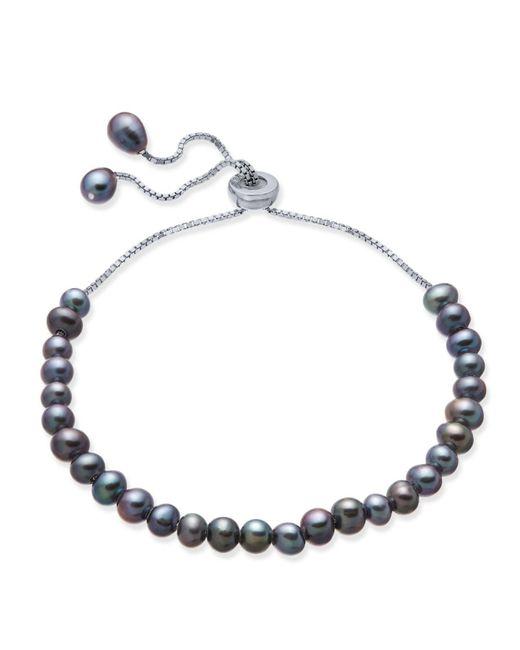 Macy's   Metallic Gray Cultured Freshwater Pearl (4mm) Slider Bracelet In Sterling Silver   Lyst