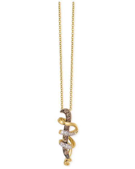 Le Vian | Metallic Diamond Swirl Pendant Necklace (1/6 Ct. T.w.) In 14k Gold | Lyst
